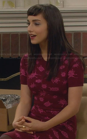 Mandy's red and pink bug print dress on Last Man Standing