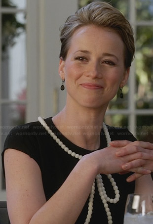 Margaux's black beaded bow dress on Revenge