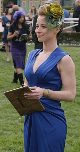 Margaux's blue gathered front v-neck dress on Revenge