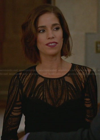 Marisol's black lace illusion dress on Devious Maids