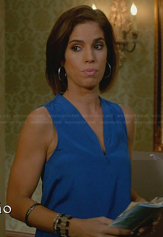 Marisol's blue zip front top on Devious Maids