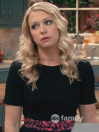 Mel's black short sleeved dress with red leopard print waist on Melissa and Joey