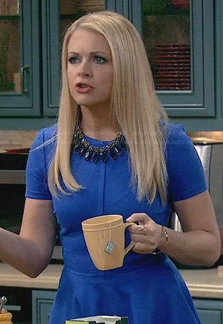 Mel's blue fit and flare dress on Melissa and Joey