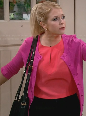 Mel's coral split neck top and pink bow-sleeve cardigan on Melissa and Joey