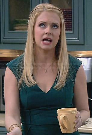 Mel's green v-neck dress on Melissa and Joey