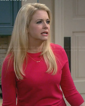 Mel's pink sweater and gold arrow necklace on Melissa and Joey