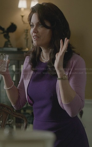 Mellie's purple pleated front dress on Scandal