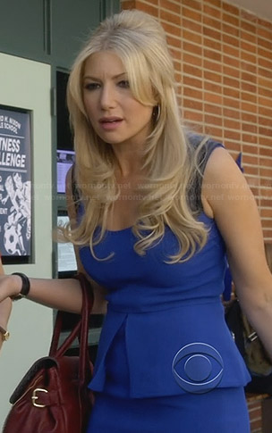 Meredith's blue peplum dress with leather shoulders on Bad Teacher