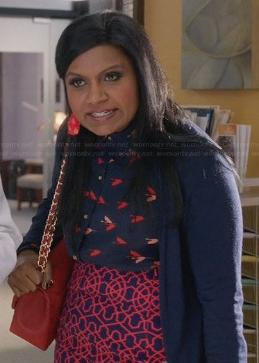 Mindy's navy and red bird print top and geometric patterned skirt on The Mindy Project