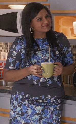 Mindy's black and blue floral dress on The Mindy Project