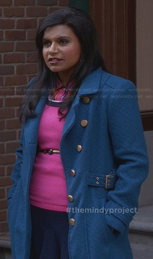 Mindy's blue coat with gold buttons on The Mindy Project