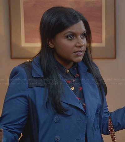 Mindy's blue two-tone trench coat on The Mindy Project