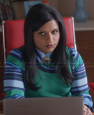 Mindy's blue and green striped shirt on The Mindy Project