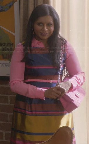 Mindy's blue satin striped dress with pink shirt and bag on The Mindy Project