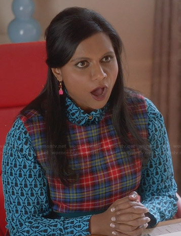 Mindy's blue printed shirt and plaid dress on The Mindy Project
