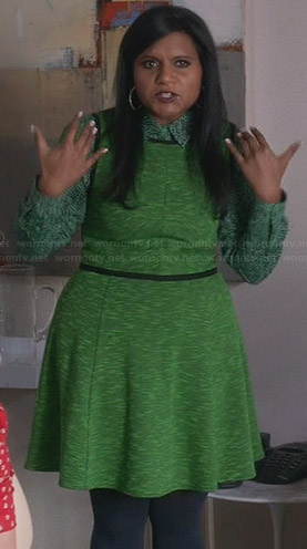 Mindy's green printed shirt and dress on The Mindy Project