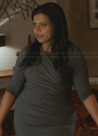 Mindy's dark green gathered dress on The Mindy Project