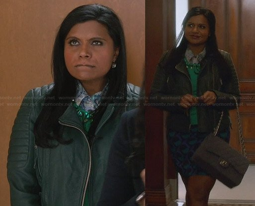 Mindy's green leather jacket and polka dot skirt on The Mindy Project