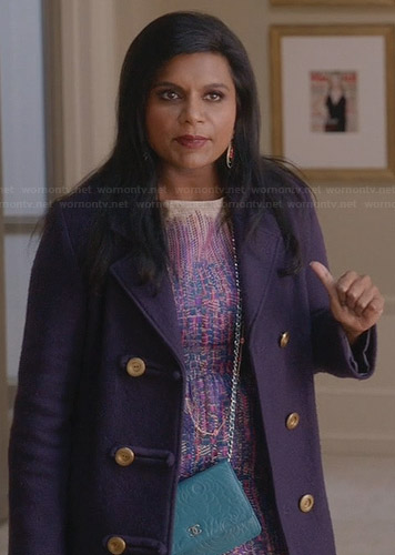 Mindy's purple tweed dress on The Mindy Project