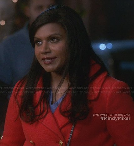 Mindy's red pea coat on The Mindy Project