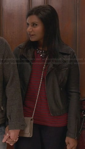 Mindy's red striped and embellished top and leather jacket on The Mindy Project