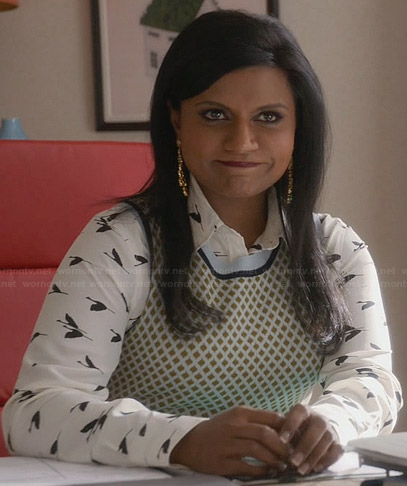 Mindy's white bird print shirt and diamond print vest on The Mindy Project