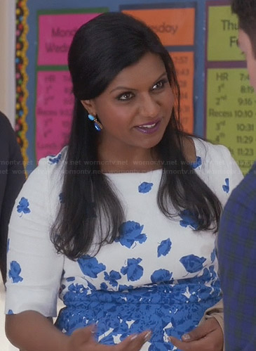 Mindy's white and blue floral dress on The Mindy Project