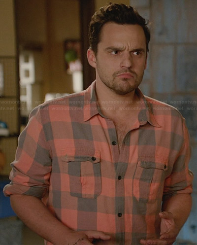 Nick's orange buffalo check shirt on New Girl
