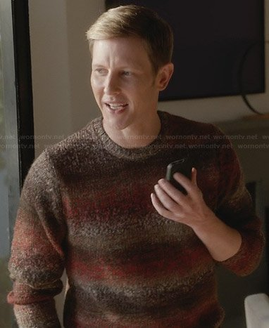 Nolan's brown ombre stripe sweater on Revenge