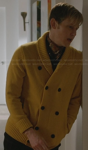 Nolan's yellow double breasted cardigan on Revenge
