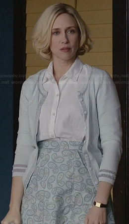 Norma's mint green cardigan and paisley print skirt on Bates Motel