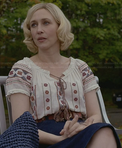 Norma's embroidered peasant top on Bates Motel