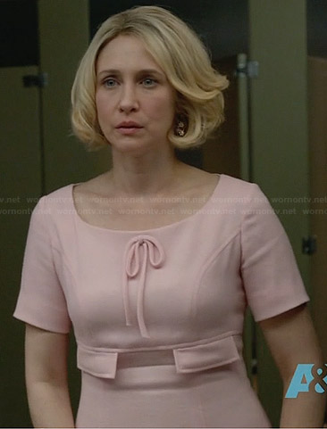 Norma's pink bow front dress on Bates Motel
