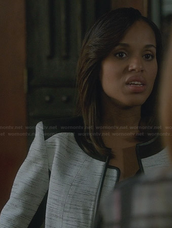 Olivia's white tweed jacket with black shoulders and trim on Scandal