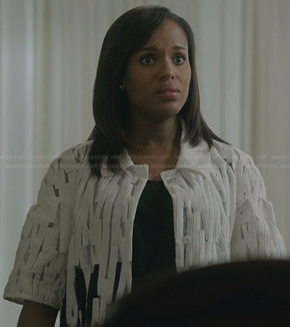 Olivia's white and black textured coat on Scandal