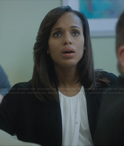 Olivia's white draped front top and black jacket on Scandal