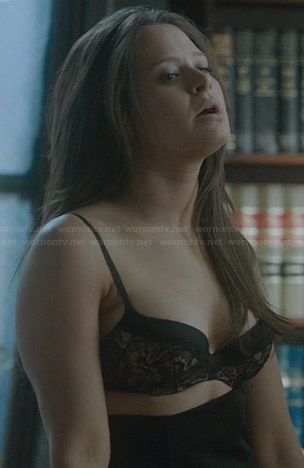 Quinn's black lace bra on Scandal