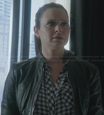 Quinn's black perforated leather jacket and gingham check shirt on Scandal