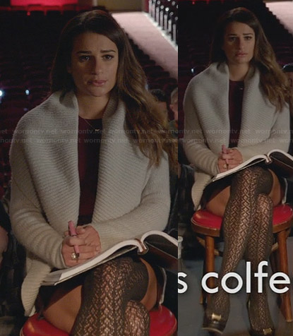 Rachel's grey shawl collar cardigan on Glee