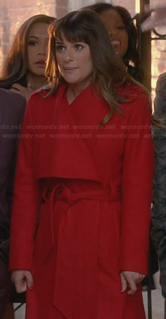 Rachel's red belted coat on Glee