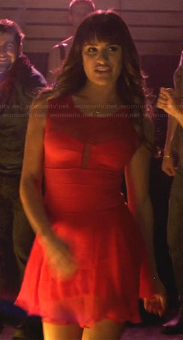 Rachel's red illusion dress on Glee