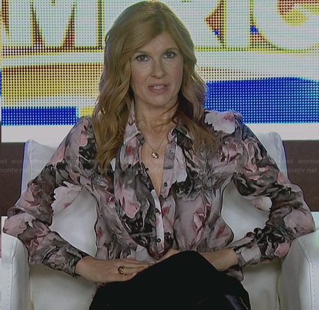 Rayna's floral ruffle front blouse on Nashville