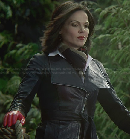 Regina's leather belted jacket and red leather gloves on Once Upon a Time