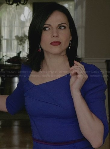 Regina's blue folded front dress with tie back on Once Upon a Time