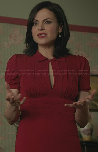 Regina's red collared dress with keyhole front on Once Upon a Time
