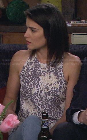 Robin's white and grey leopard print tank top on How I Met Your Mother