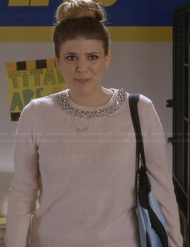 Sadie's pink embellished neck sweater on Awkward