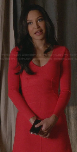 Santana's red long sleeve v-neck dress on Glee