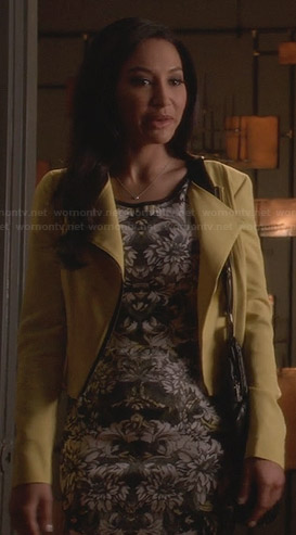 Santana's black and white mirrored floral dress and yellow jacket on Glee