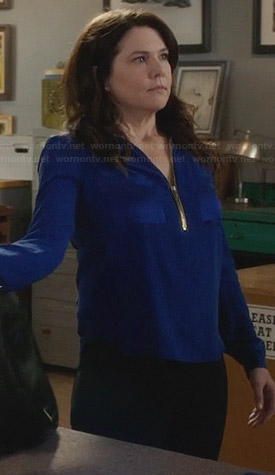 Sarah's blue zip front blouse on Parenthood